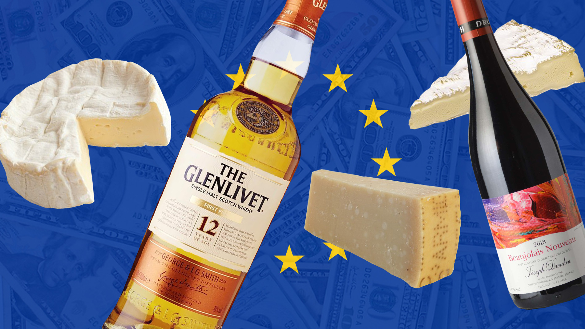 bottles of wine and whiskey and cheese on the background of the eu flag
