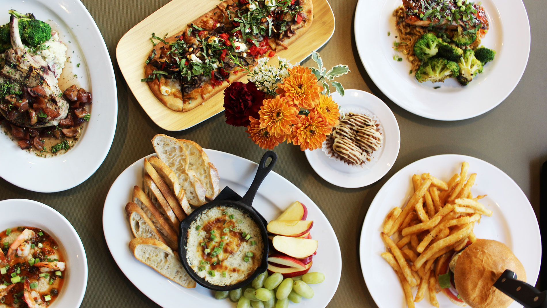 a variety of dishes on a table