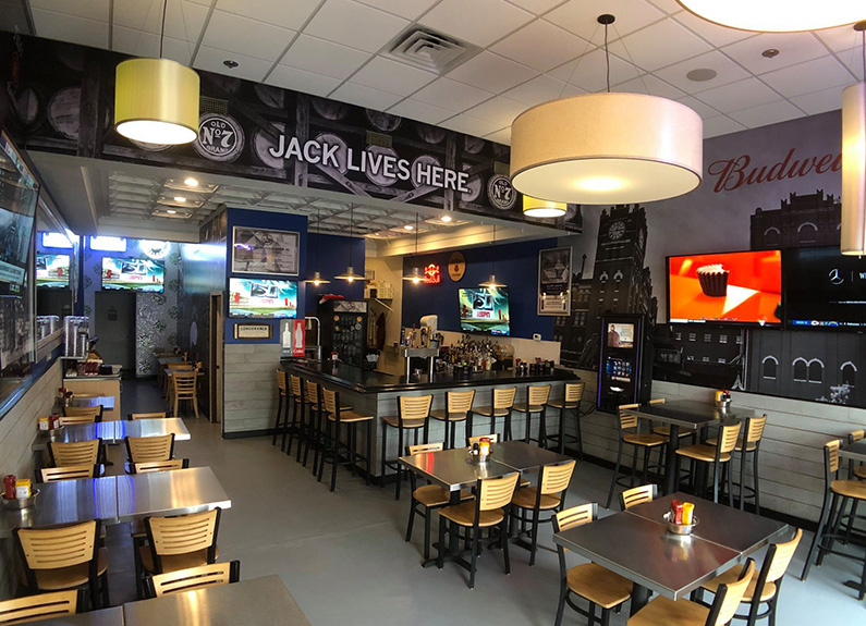 a dining room at a sports bar