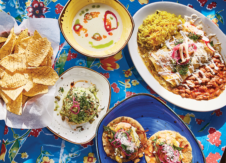 a spread of mexican dishes