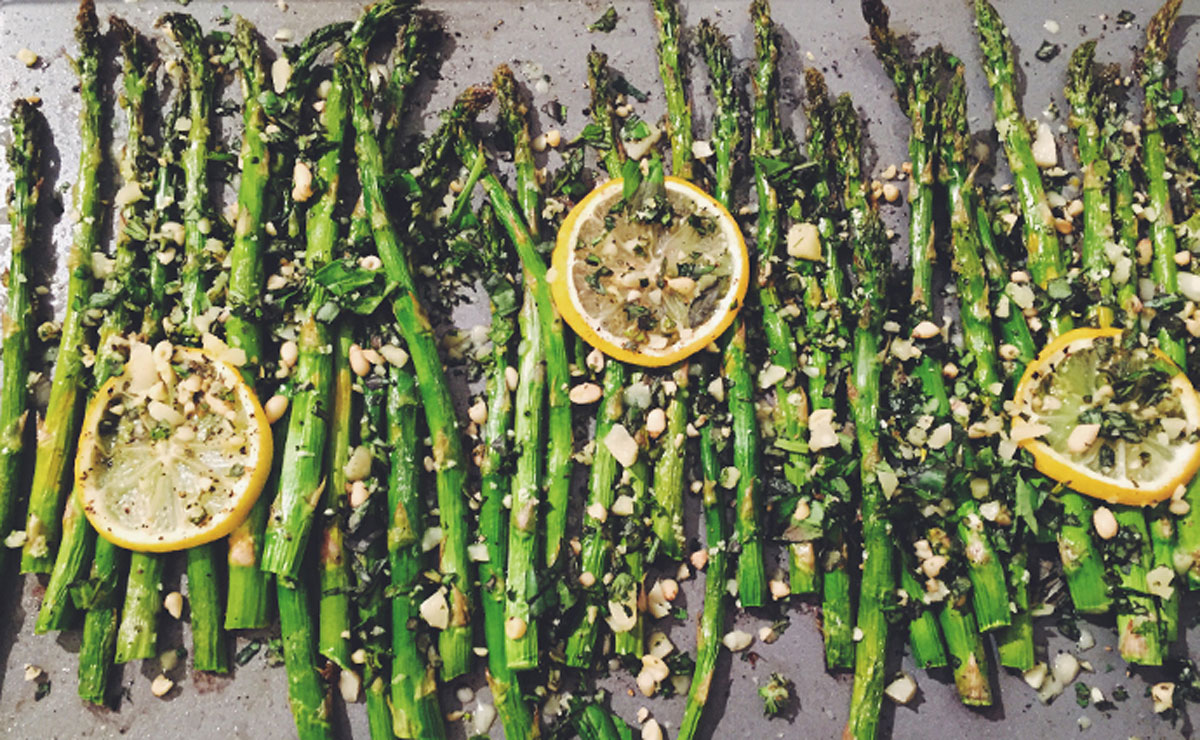Marco Canora's Roasted Asparagus and Lemon with Chunky Pesto recipe