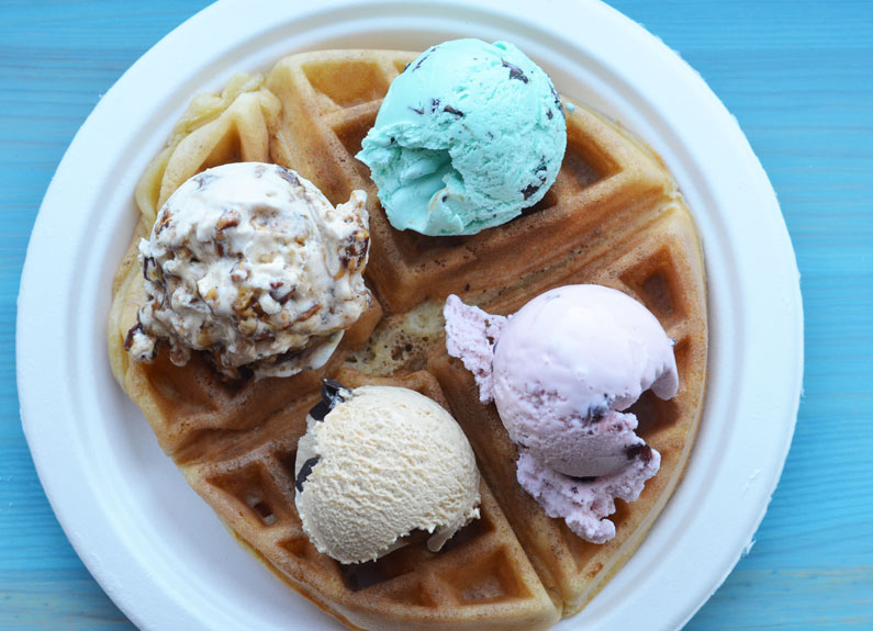 fluffy belgian waffles with serendipity ice cream at boardwalk waffles & ice cream in maplewood