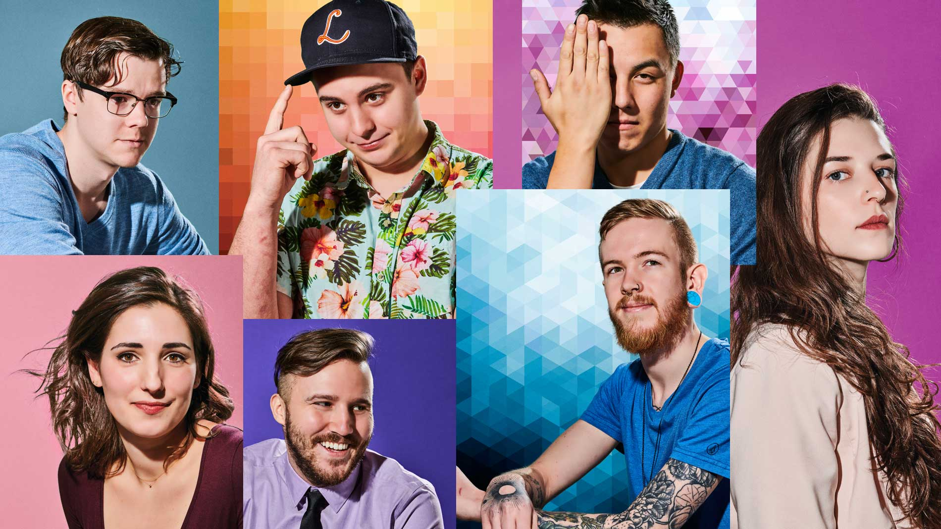 a photo collage of seven young people