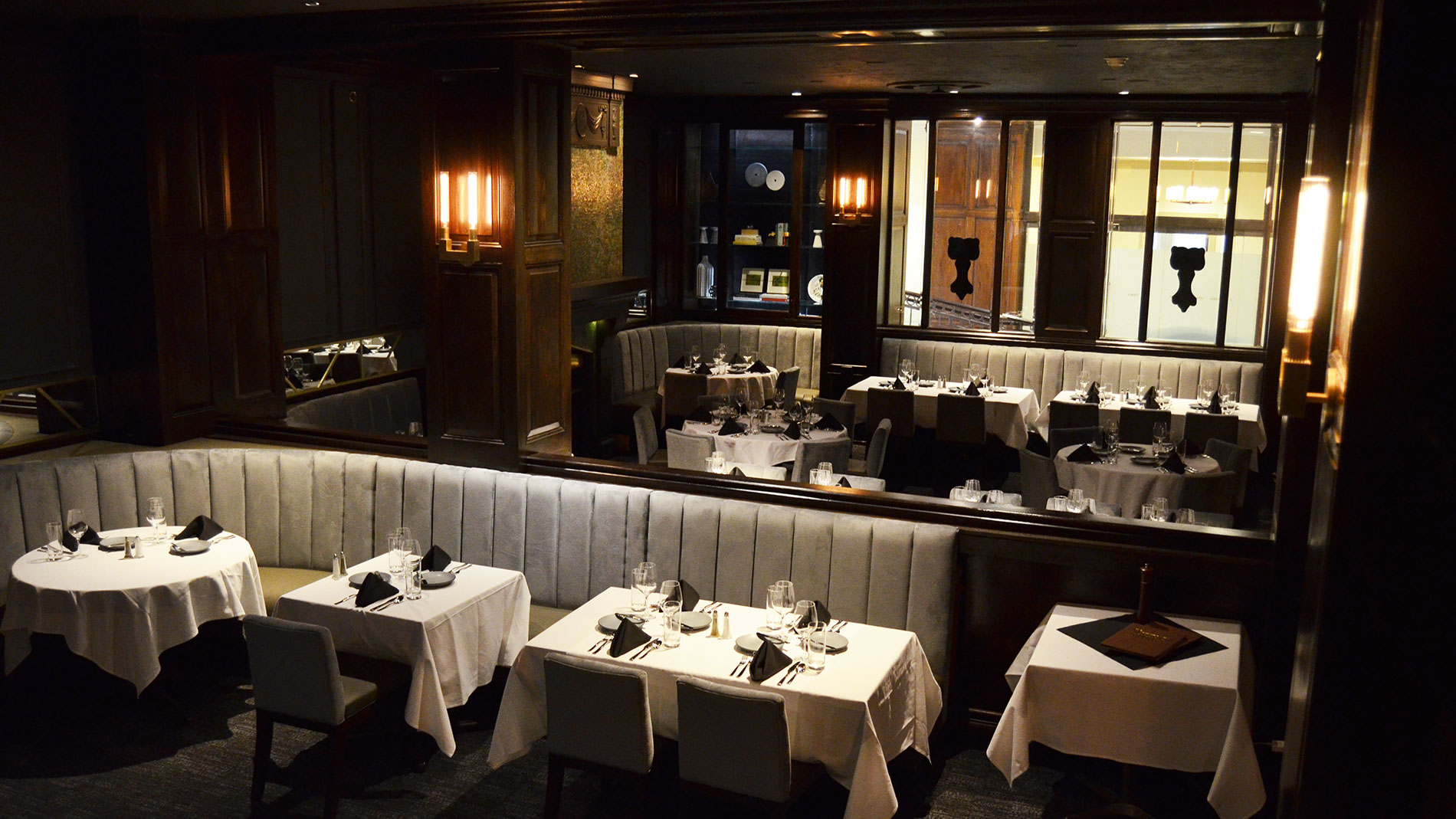 an upscale dining room at a steakhouse