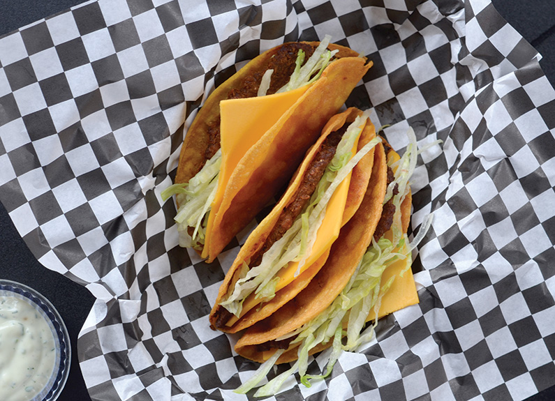 two fast-food tacos