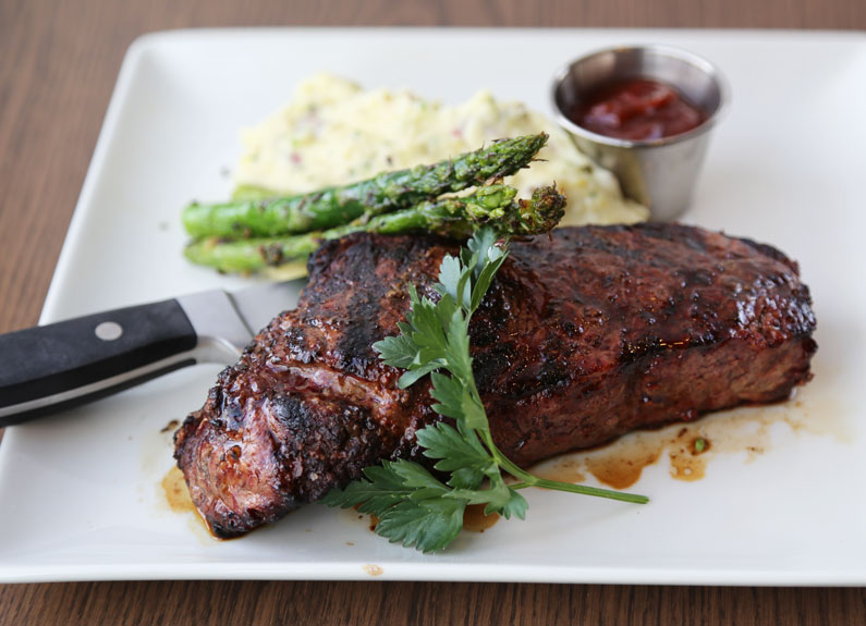 the new york strip steak from weber grill restaurant at the galleria