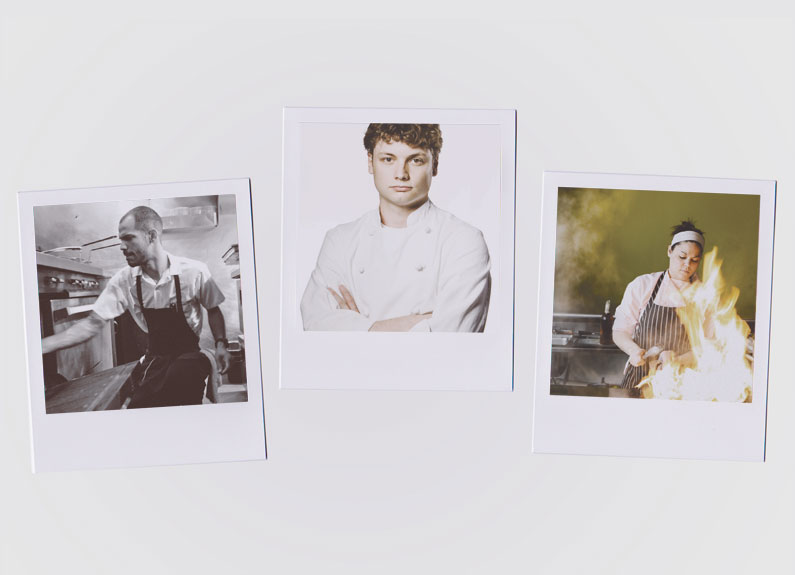 three polaroids of young chefs at work in st. louis