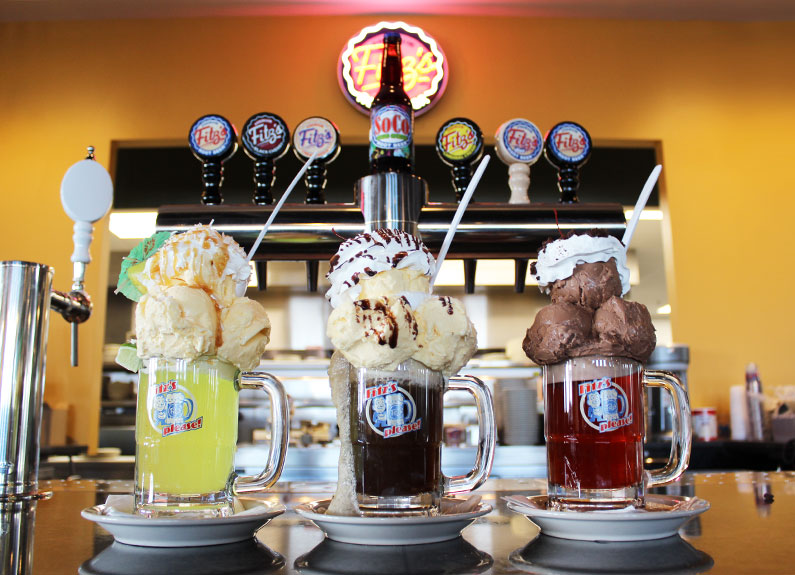 a selection of floats at fitz's root beer