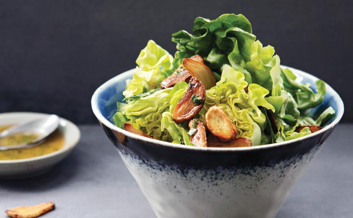 salad with garlic vinaigrette and garlic croutons