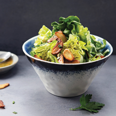 salad with garlic vinaigrette and garlic croutons