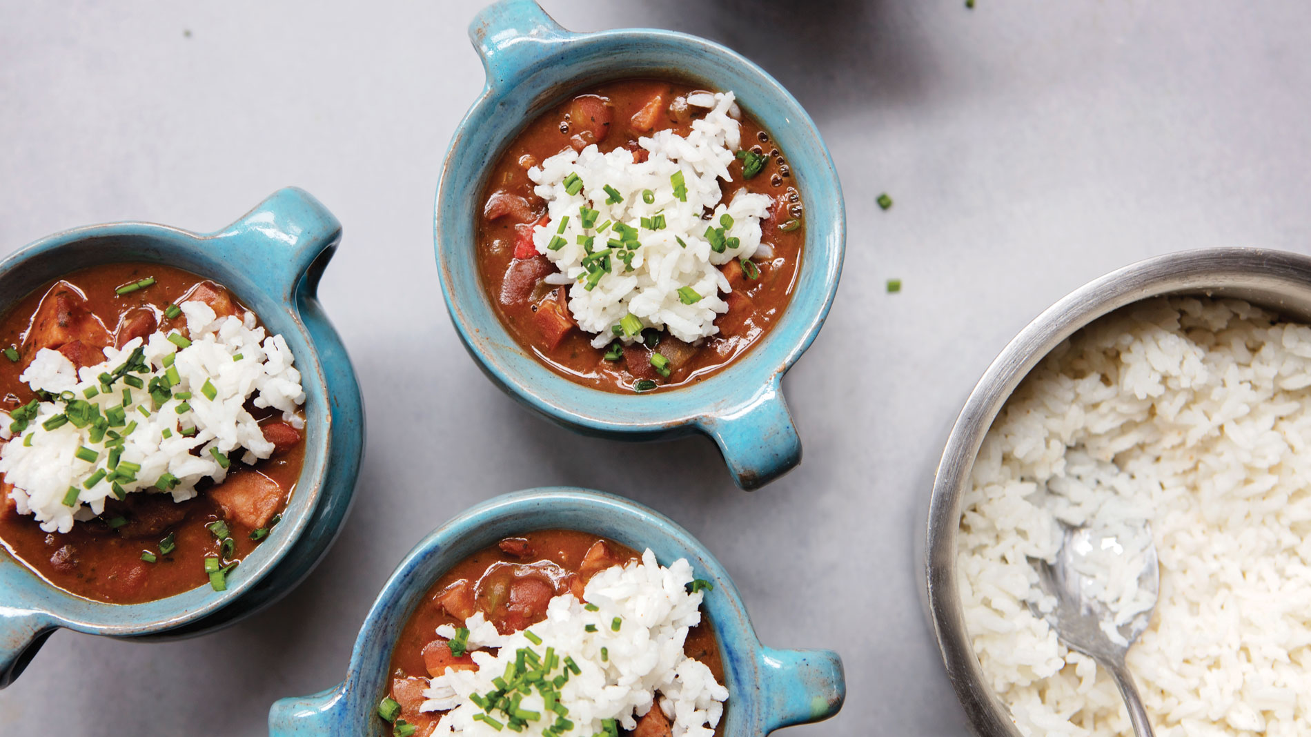 small bowls of red beans and rice