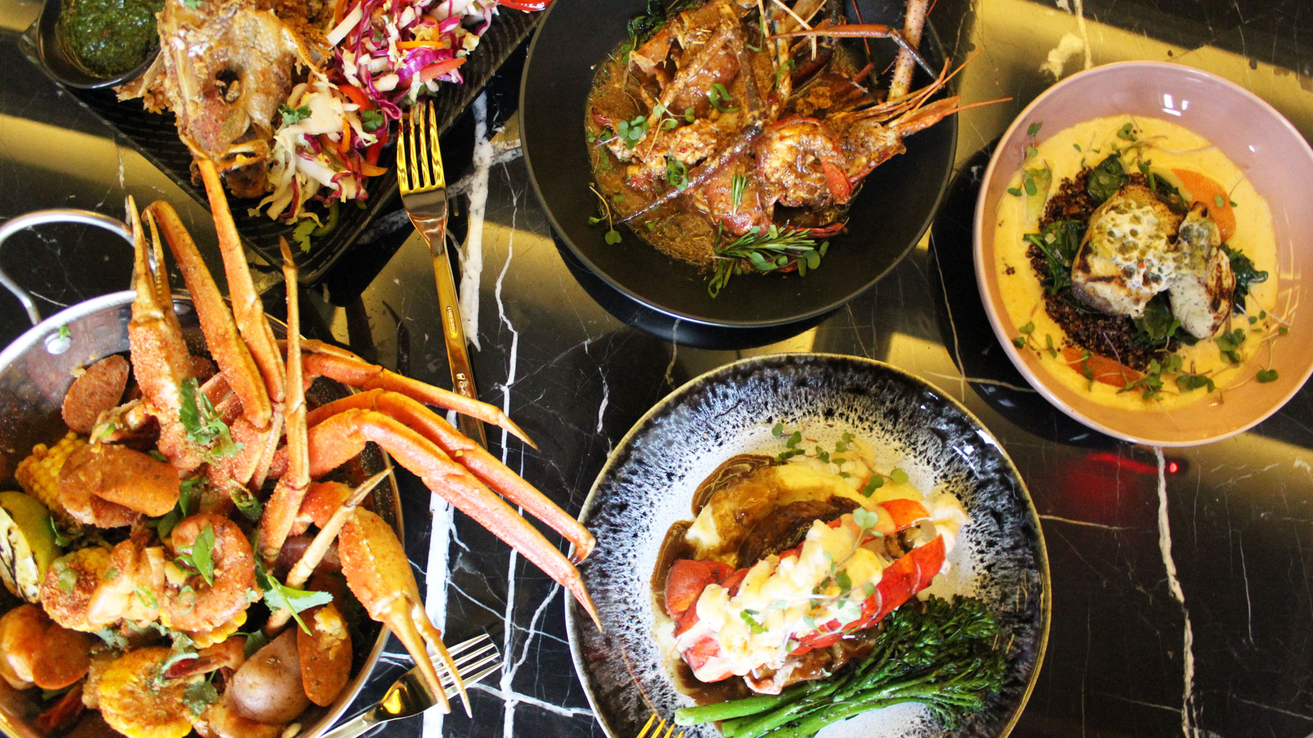 several seafood dishes with lobster, fish and more