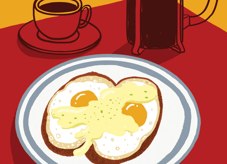 an illustration of two eggs on toast