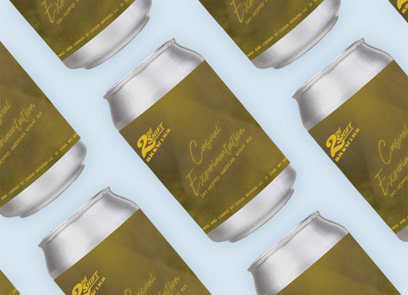cans of 2nd shift brewing's casual experimentation no. 4 on a yellow background