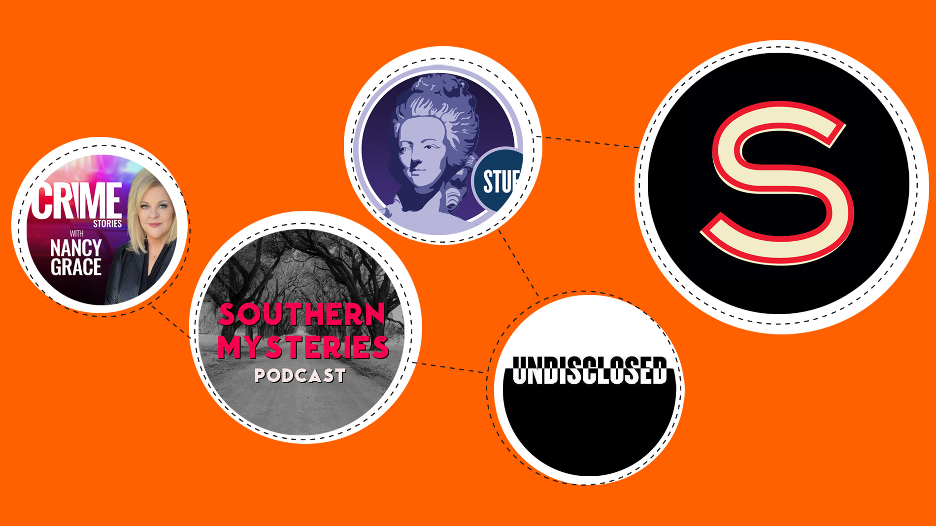 five logos from podcasts on an orange background