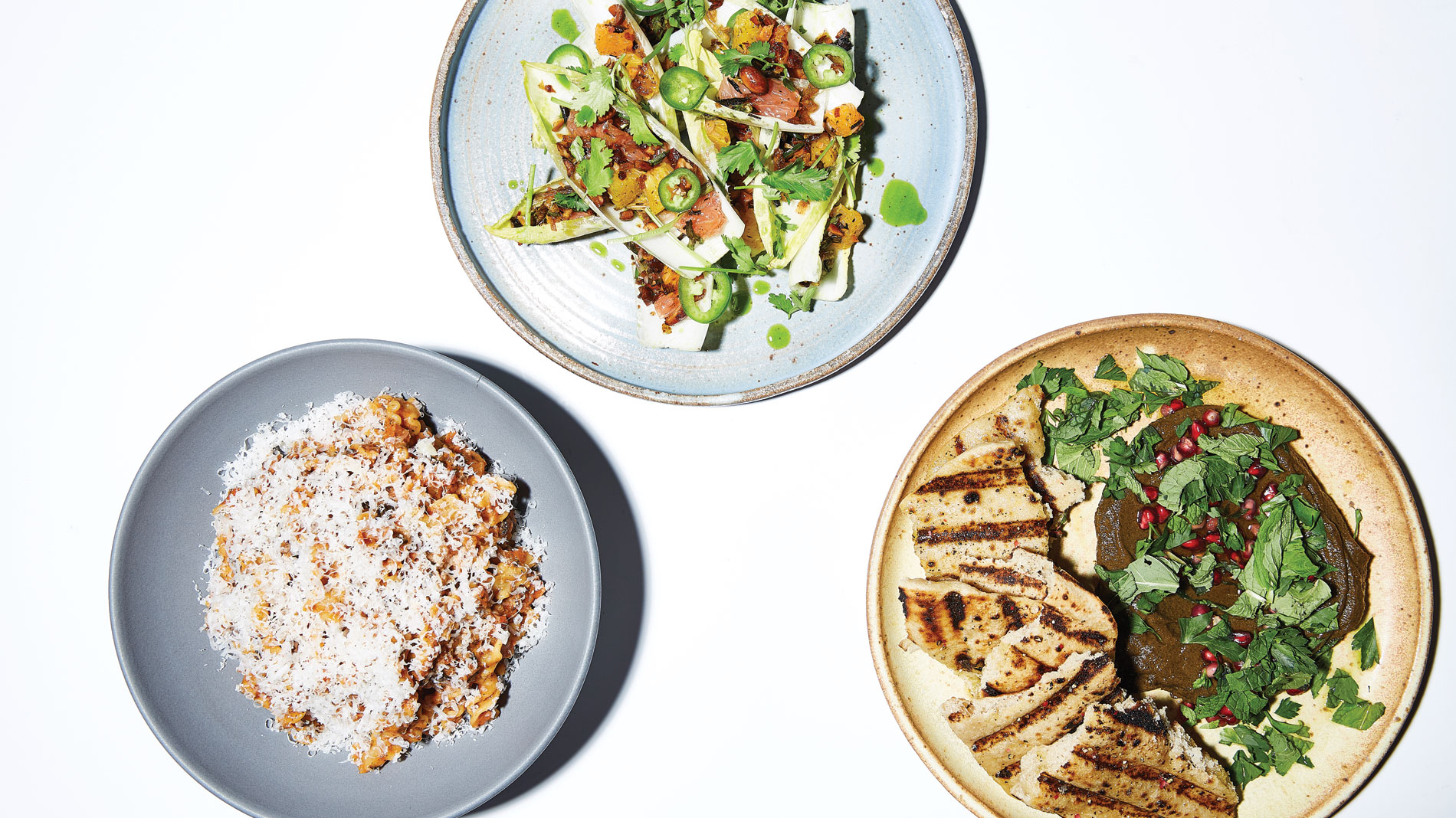three dishes from a fine-dining restaurant