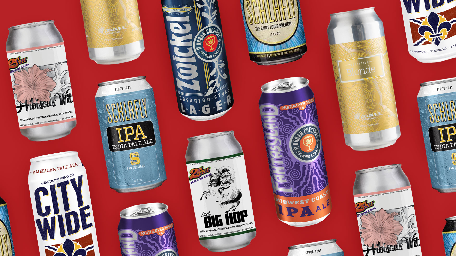 a collection of st louis craft brewery cans