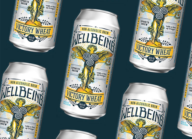 several cans of wellbeing beer on a blue background