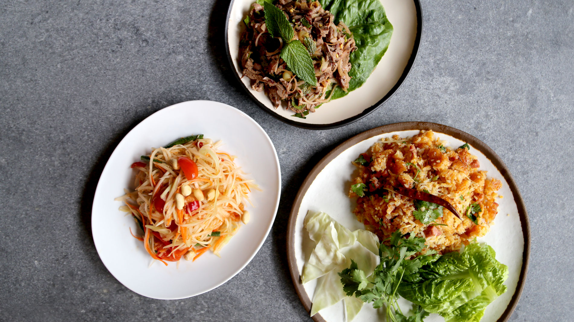 three dishes from a thai restaurants