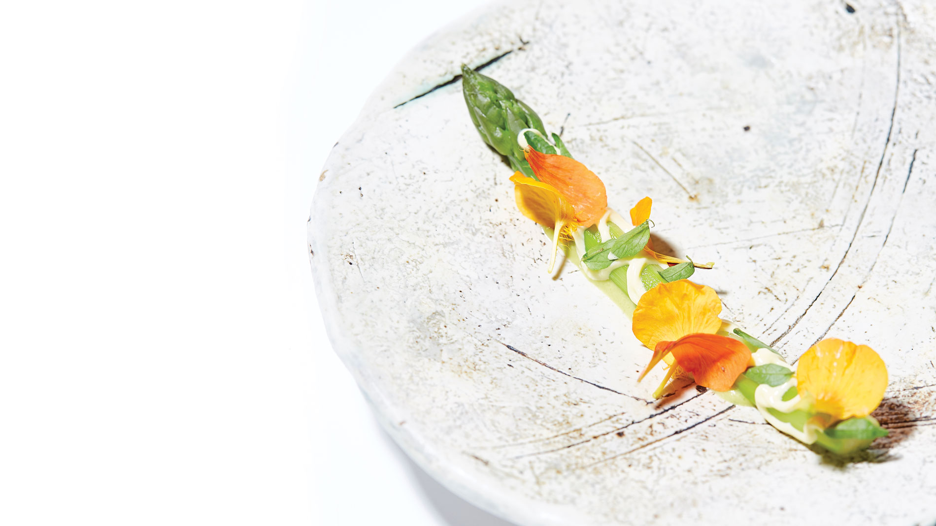 a single piece of asparagus decorated with edible flowers on a white plate