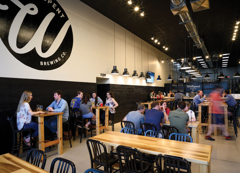 the tasting room at wellspent brewing co.