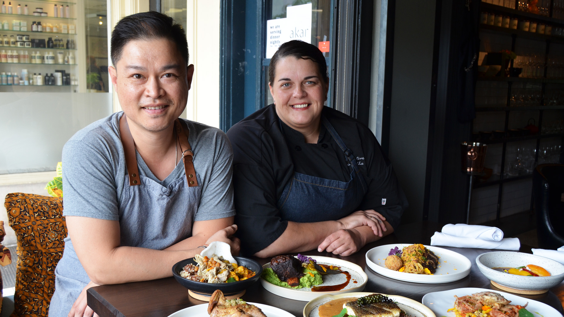 executive chef-owner Bernie Lee and teammate Samantha Pretto
