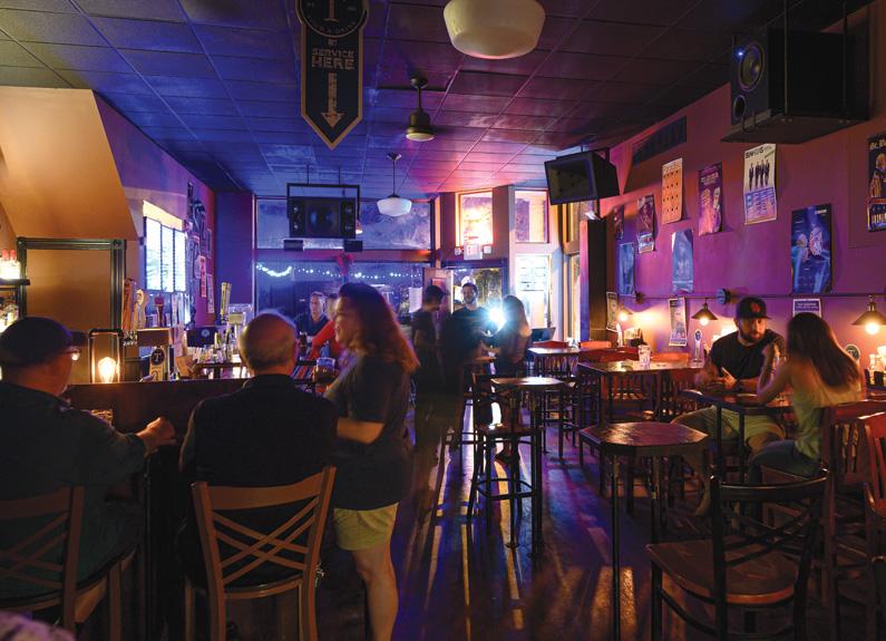 the dark interior of a bar