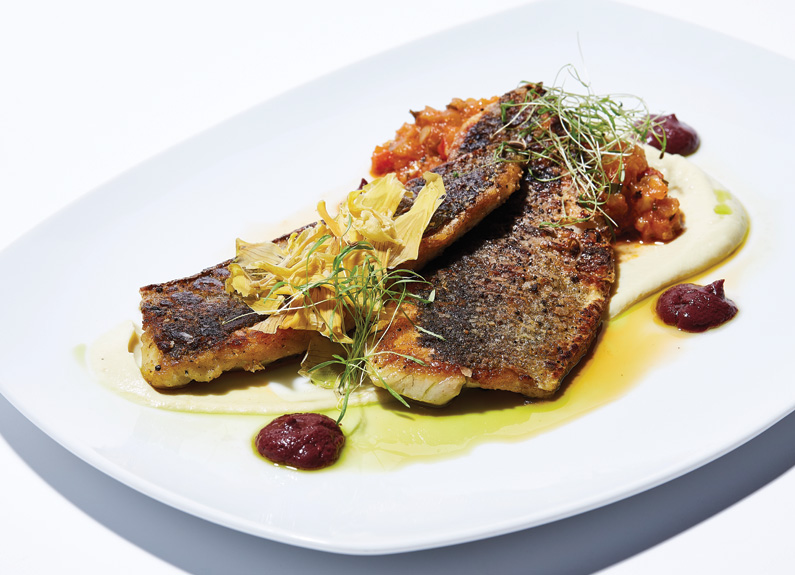 two seared fish fillets with small garnishes on a white plate