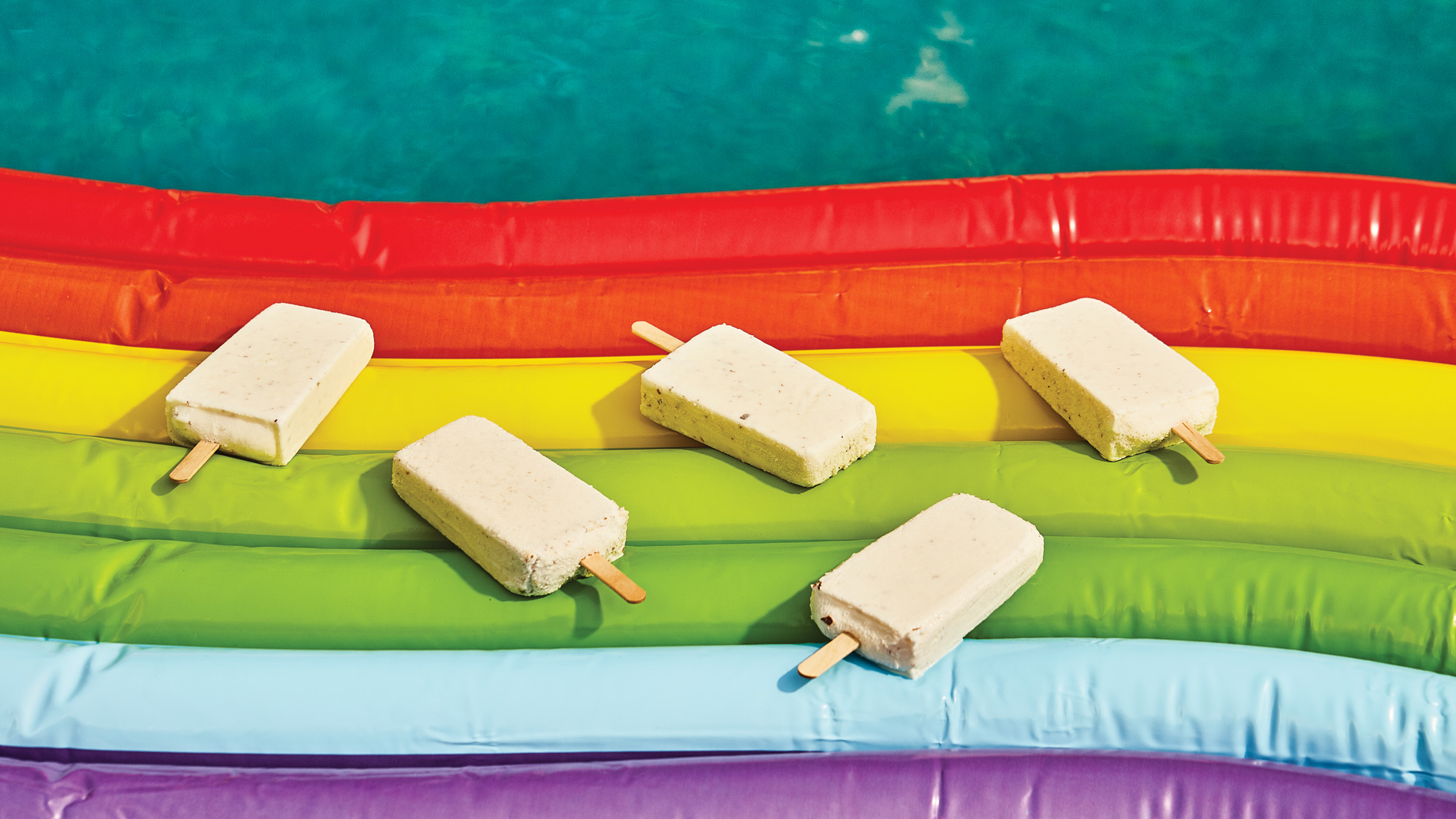 popsicles on a rainbow pool float