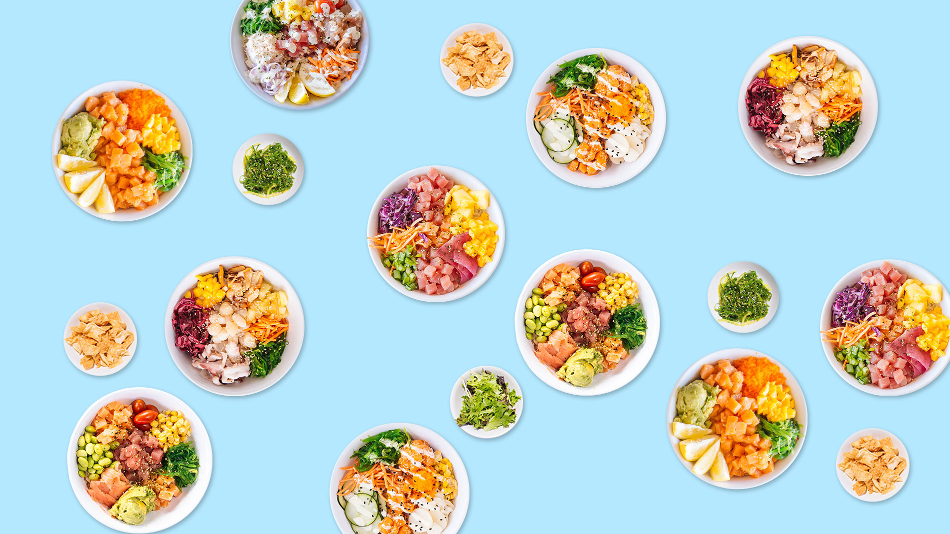 several poke bowls on a blue background