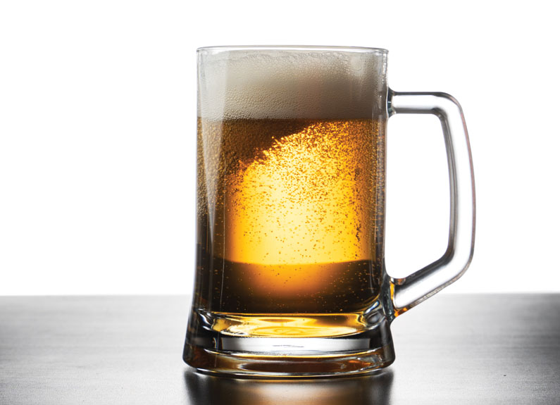 a stein of lager beer