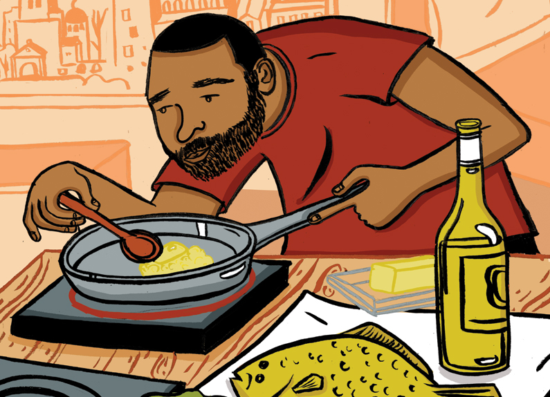 an illustration of a man cooking