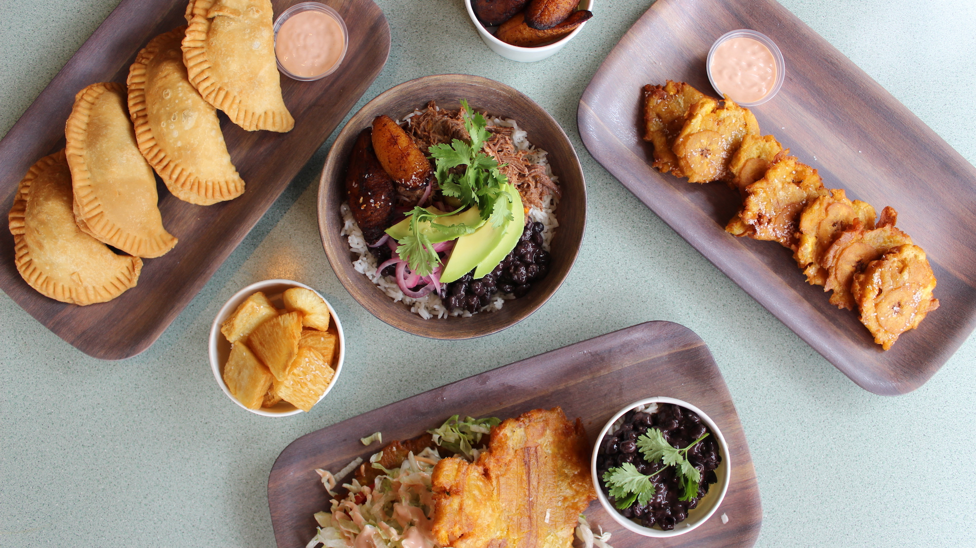 several dishes made with plantains on a table