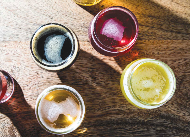 several glasses of kombucha