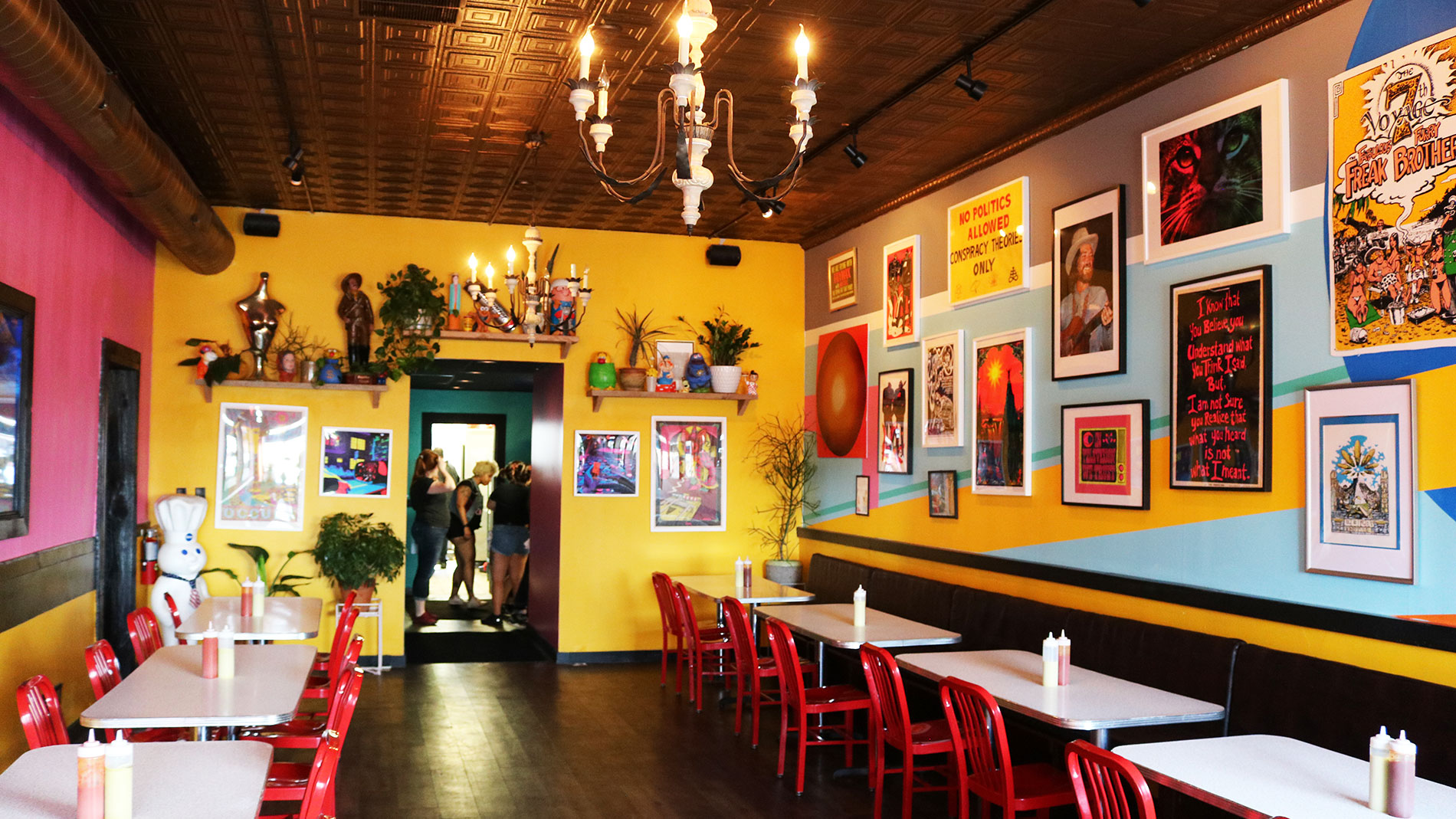 a colorful dining room in a tex-mex restaurant