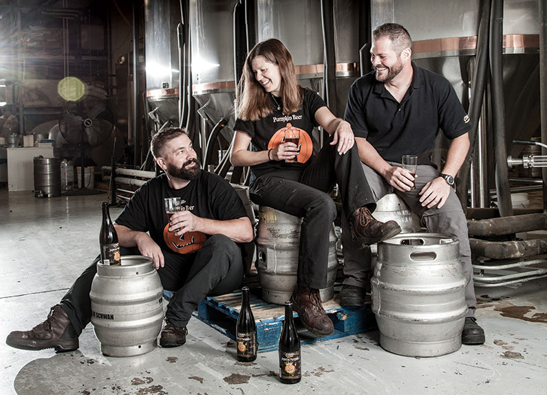 from left, brian owens, cat golden and jason small, brewers at o'fallon brewing