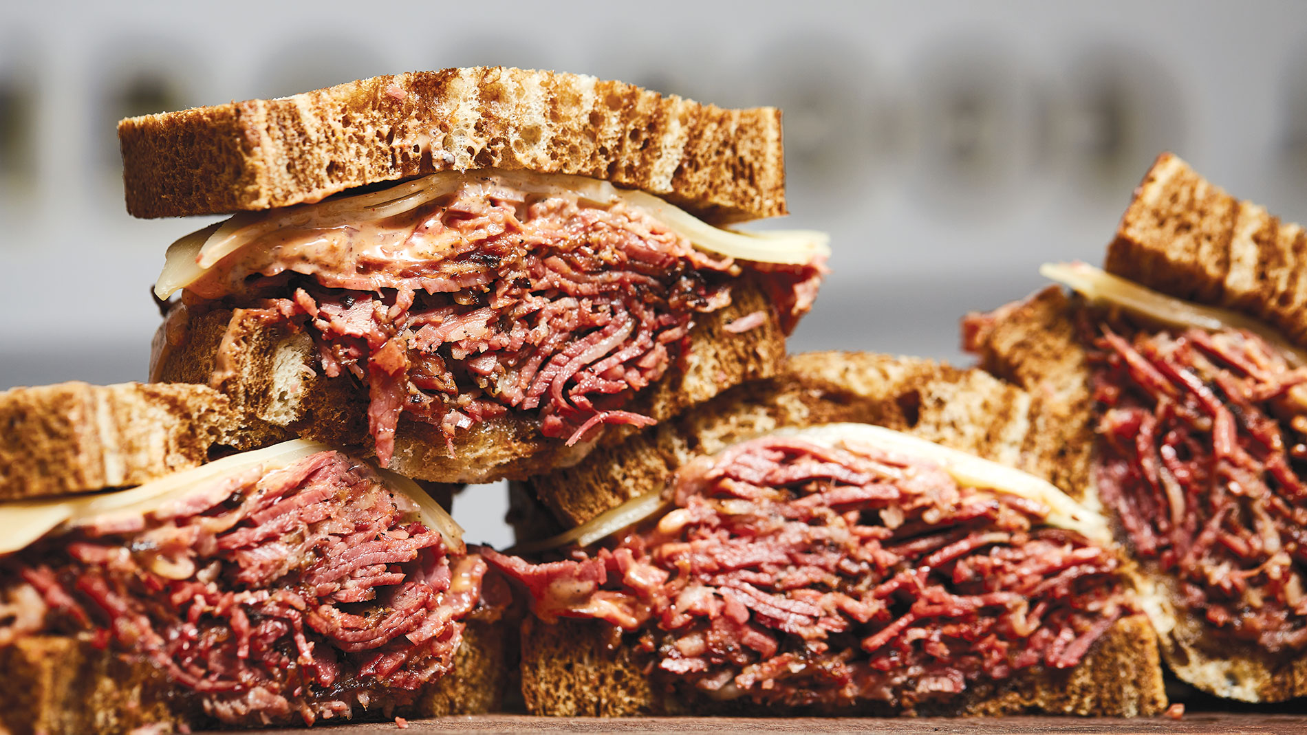 pastrami sandwiches from nomad inside tamm avenue bar in dogtown
