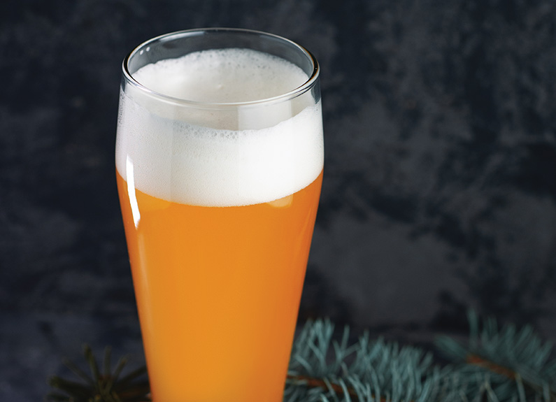 a golden beer in a glass