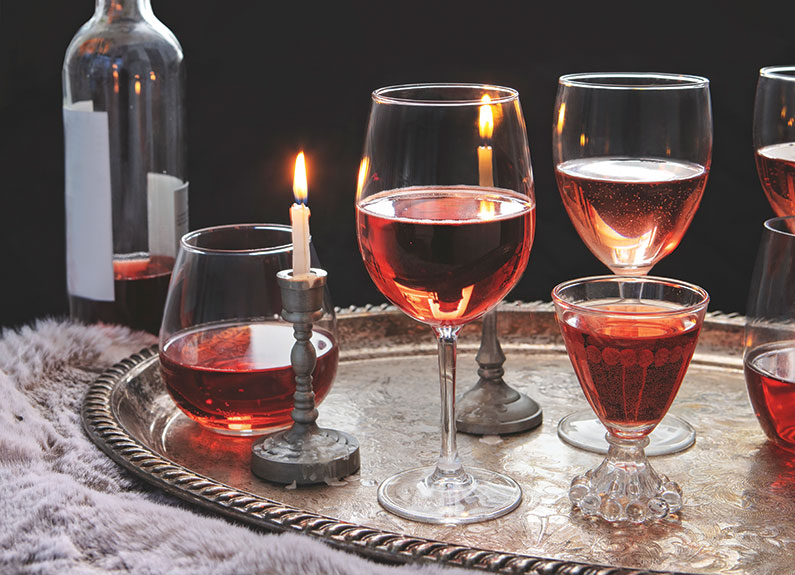 glasses of rose wine on a tray
