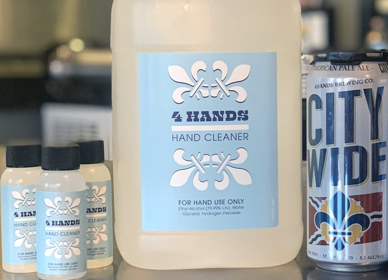 4 Hands Brewing Co. has begun producing hand sanitizer