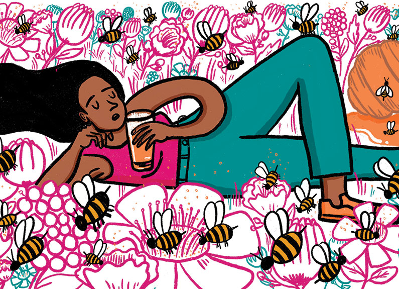 an illustration of a woman laying in a field of flowers with a beer