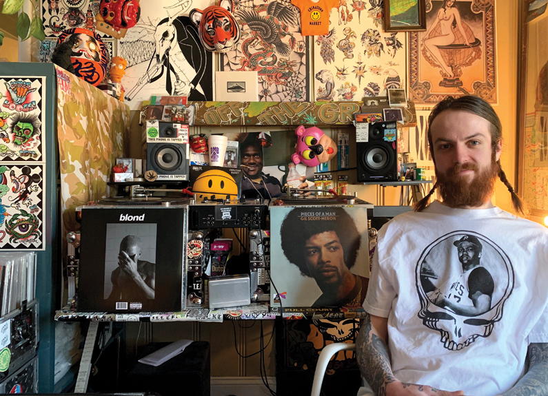 Paul Fullerton of Takashima Records in St. Louis, Missouri, wearing a Grateful Dead shirt