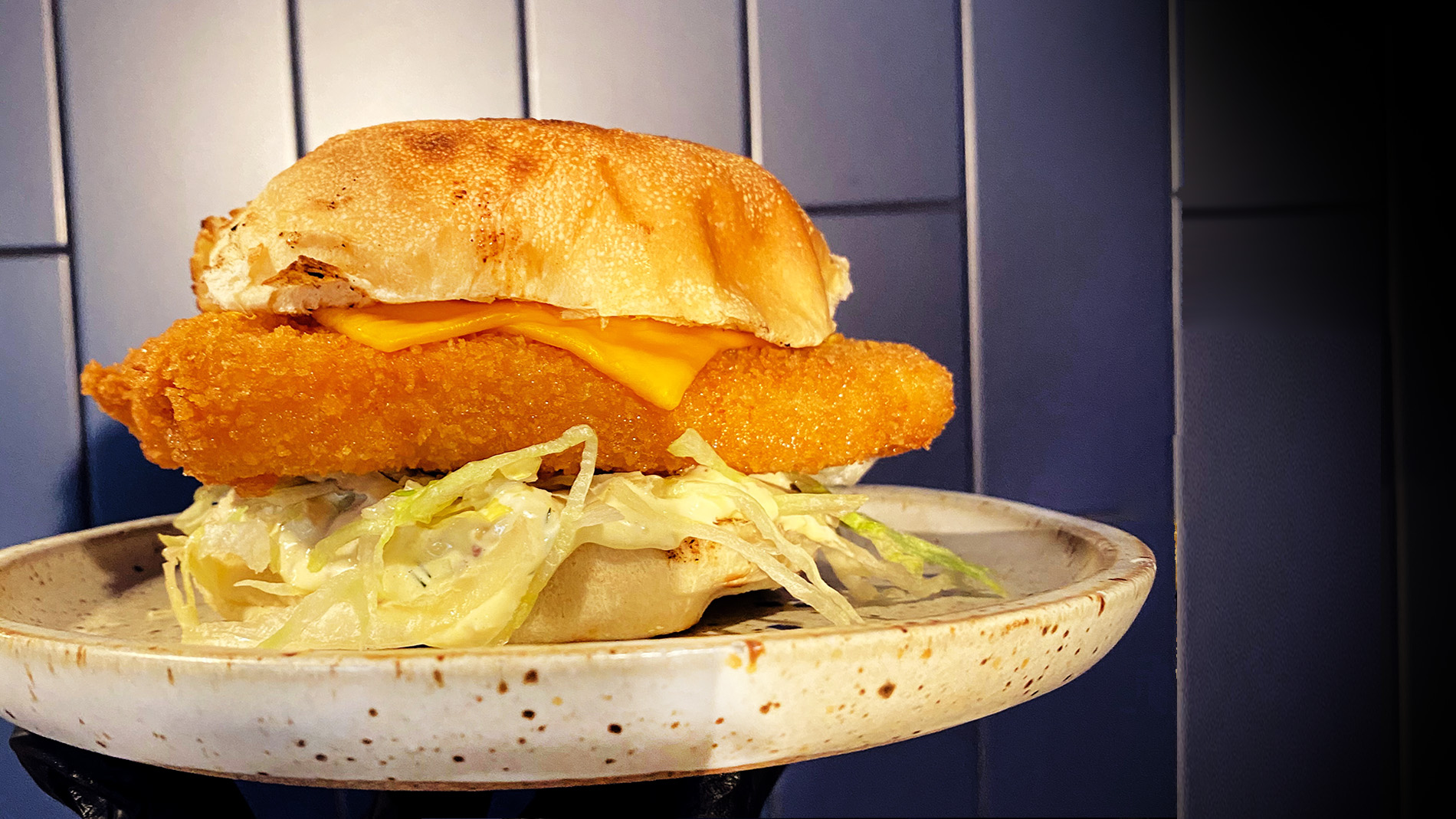 Classic fried fish sandwich from Elmwood in St. Louis, Missouri
