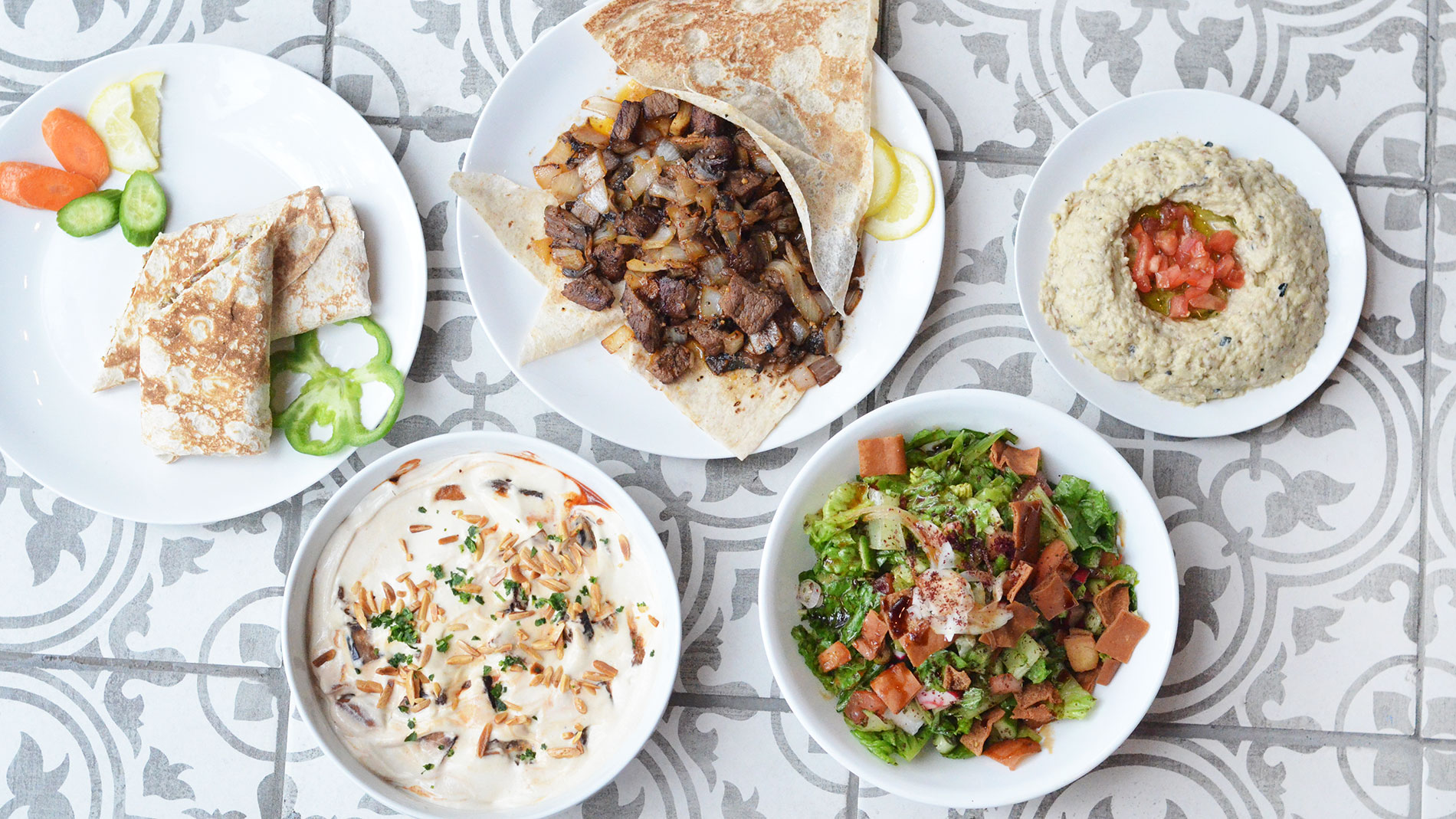 a selection of dishes from American Falafel in the Delmar Loop in St. Louis, Missouri