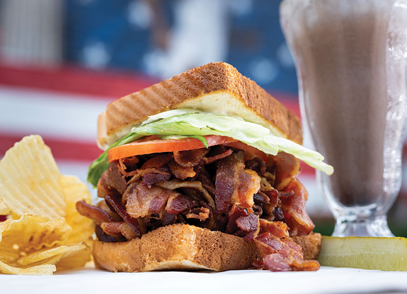 a blt and chocolate milkshake at crown candy kitchen