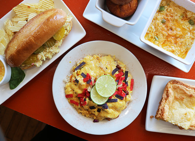 a selection of dishes from juanita's creole soul cafe
