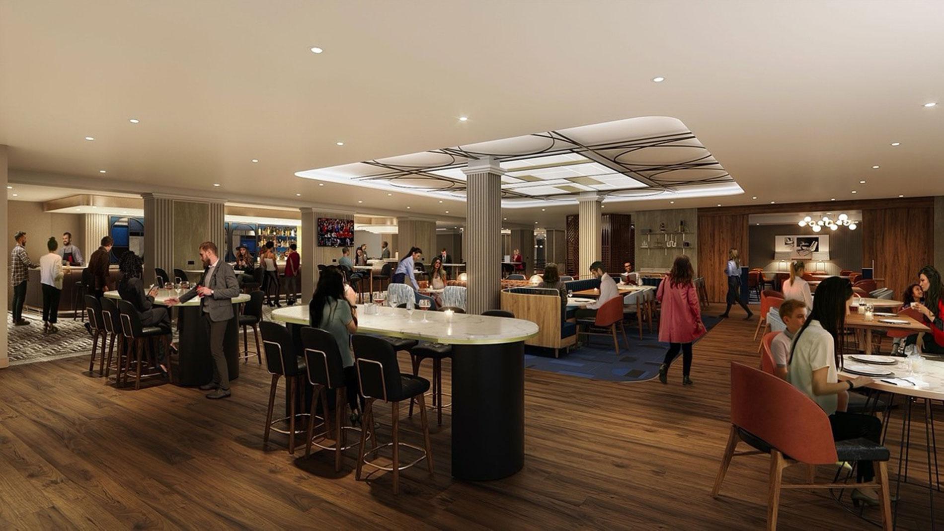 rendering of cafe la vie at Le Meridien hotel in Clayton