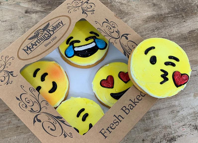 emoji cookies from the pioneer bakery cafe in kirkwood