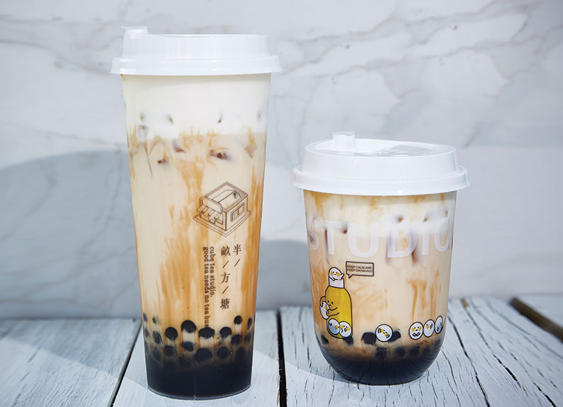 milk tea with boba from cube tea in university city in st. louis