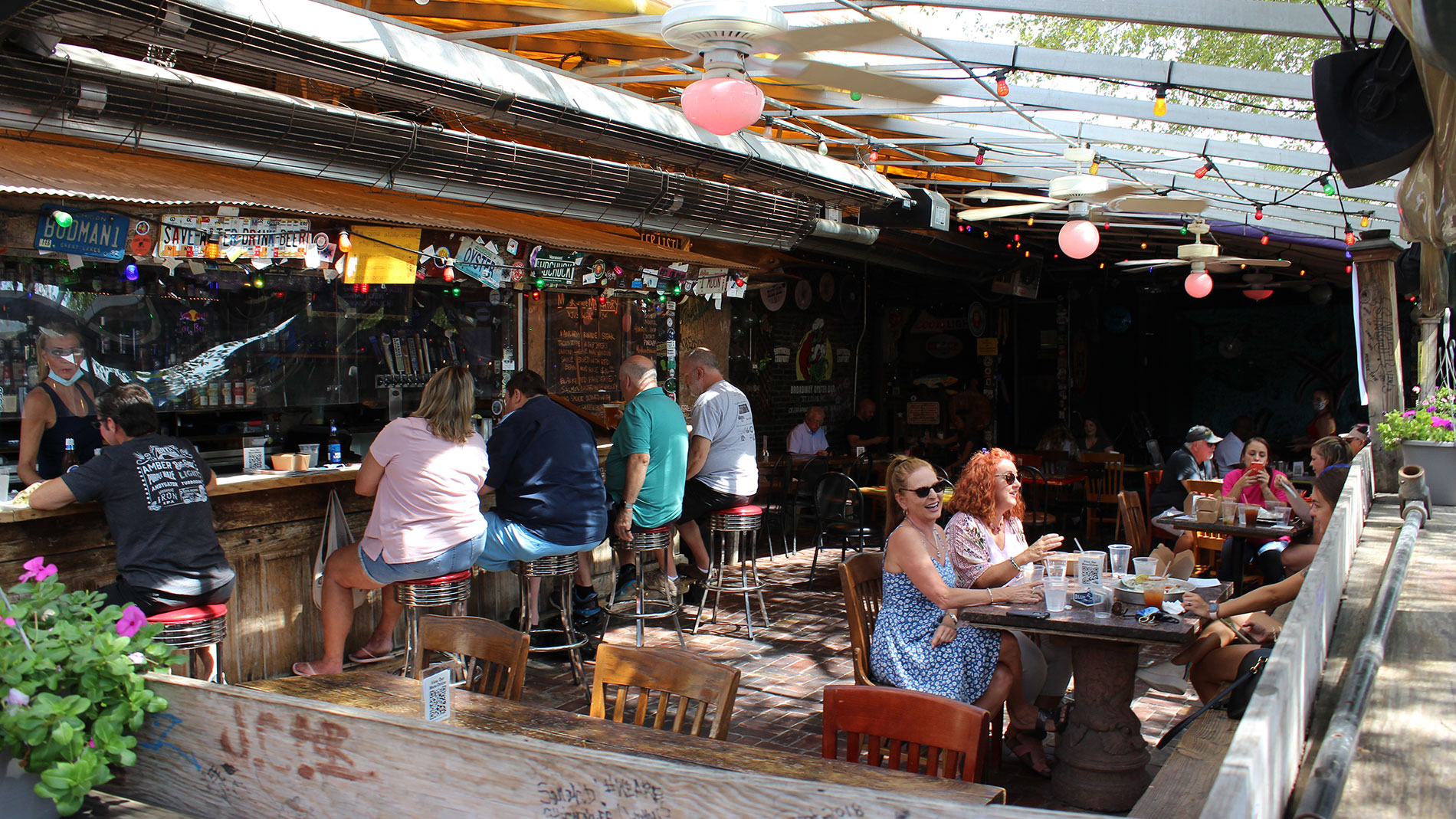 broadway oyster bar's covered patio in downtown st. louis